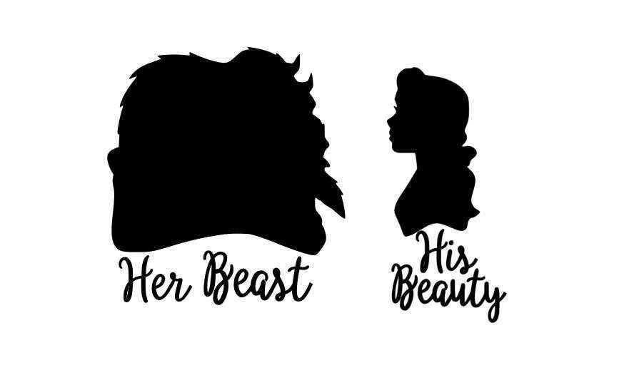 His Beauty Her Beast Vinyl Decals Or Shirt Iron Ons Decals - Disney custom vinyl stickers