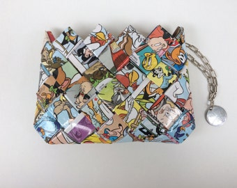 Recycled Looney Tunes wallet,comic book purse, Eco Friendly purse,candy wrapper mini purse/wallet