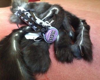 Rabbit Fur Flogger with Lilac Corset Handle XTC003