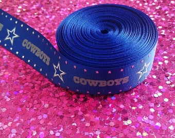 Dallas Cowboys Inspired Grosgrain Ribbon, Cowboys Ribbon, Printed Ribbon, Dallas Cowboys, Royal Blue, Sports Team, Number one fan, Glitter