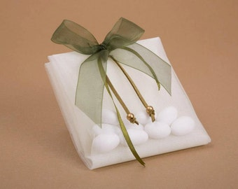 olive color ribbon wedding favor, wedding gift bag,olive bow wedding favor, anniversary favor, bomboniera, μπομπονιέρα γάμου