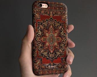 Floral carpet iPhone 7 case, iPhone 6s case, iPhone 6 plus case, iPhone 6s Plus case, iPhone 5s case, SE case, tough case, black gray T147