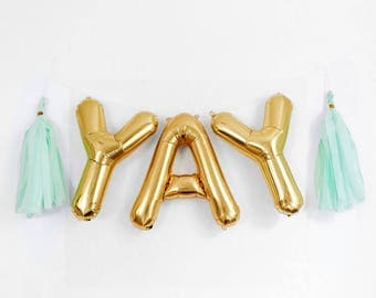 "YAY Letter Balloons | 16"" Gold Letter Balloons 