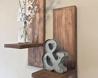 Farmhouse Distressed Shelves- Set of 2 | Wooden Sconces | Candle Holders | Shelving | Rustic Wall Sconces | French Country Sconces