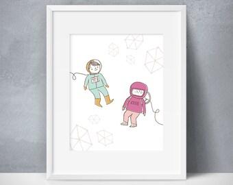 Astronaut Crew, Space Astronaut Prints, Astronaut Kids Art, Modern Astronaut Prints, Space Astronaut Printables, Spaceship Astronaut Nursery