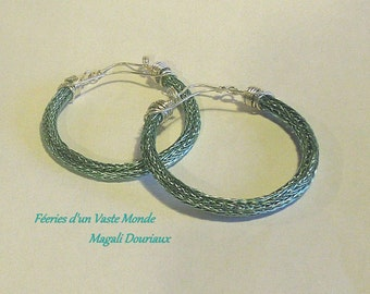 """Creoles """"woven"""" viking knit turquoise hand"""