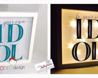 """Bright-line frame turquoise star film """"be your own Idol"""""""