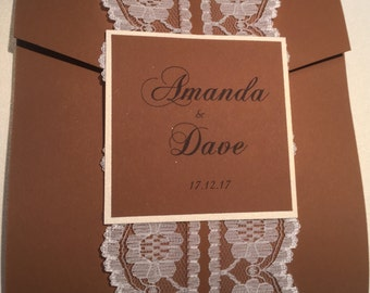 Handmade lace Vintage rustic pocket folder wedding invitations