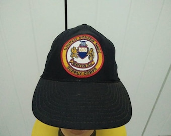Rare Vintage United States Navy Supply Corps Patched Cap Hat Free size fit all Made in USA