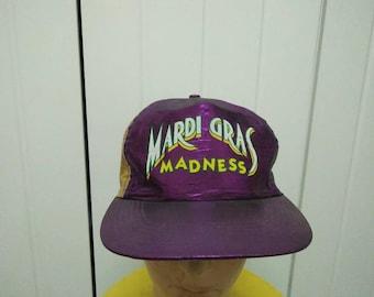 Rare Vintage MARDI GRAS MADNESS Colour Block Cap Hat Free size fit all