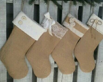 Single (1) Burlap and Ivory Christmas Stockings- the Joyful Collection, Personalized Stocking