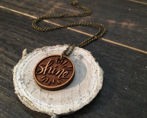 "Shine / 18"" Necklace / Engraved Wooden Pendant / Hand Lettered  / Round Minimalist Design / Ohio"