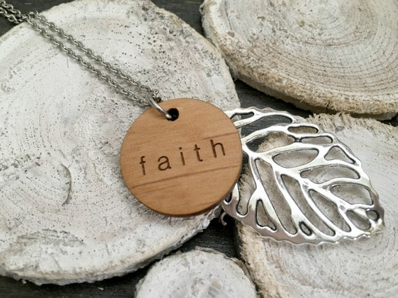 """Faith // Stainless Steel 24"""" Necklace / Leaf Pendant / Engraved Wooden Pendant / Hand Lettered / Minimalist /"""
