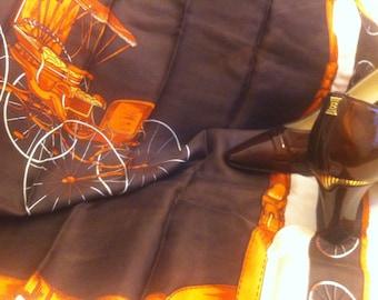 SALE! silk-foulard, scarf, 'carousse', brown, orange