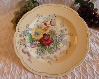 """Woods Burslem England 10"""" Dinner Plate - Bouquet Pattern"""