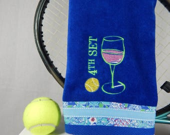 """Royal Blue or pick your own color """"4th Set Wine"""" Tennis Towel"""