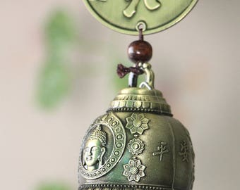 "Buddha bell wind chimes 15"" Garden Wind Chimes Indoor Outdoor Hanging Decor"