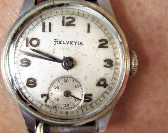 1940s Swiss Ladies SS Helvetia 15 Jewels Bonklip Bracelet Watch + Sub Dial 90A