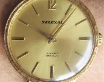 Gents 1960s Swiss Gold Plated Mirexal 17J Bracelet Watch FHF 82 Mov't for Sale