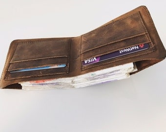 Mens Distressed Real Leather Wallet with Credit Card Holders and Cash Holder