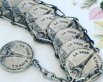 French Bracelet, Vintage French Monument Charm Disc Bracelet, Charm Bracelet, French Gift, Gift For Her.