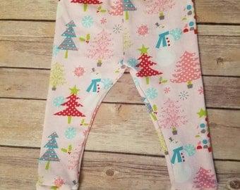 pink Christmas tree leggings, baby Christmas leggings, holiday leggings, pink leggings