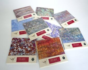 Origami paper with marbled patterns - 15x15cm - 42 sheets - kit 4