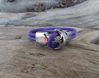 EXPRESS SHIPPING,Purple Leather Bracelet, Spring Fashion Bracelet, Women Anchor Bracelets, Chrome Anchor Hook Bracelet, Gifts for Girlfriend