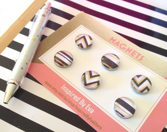 Modern Monochrome Geometric Pattern Glass Magnets - Black, White and Gold Chevron/Stripes - Strong 6 Piece Magnet Set - FREE SHIPPING AUS