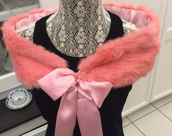 Vtg PINK FUR STOLE/Prom Fur Shawl /Fur Collar /Pink Stole/Costume Accessory