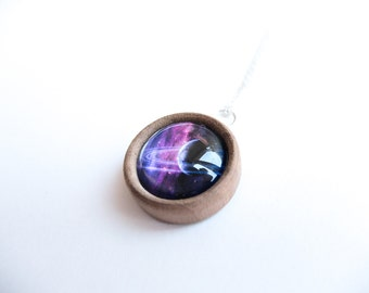 Saturn Planet Wooden Round Pendant Necklace