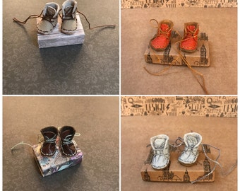 Blythe Doll boots - handmade -  soft real leather - beige, orange, light grey and burgandy coloured - boots for blythe