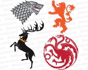 SVG Cut File Game of Thrones Sigil, Game of Thrones SVG Files, Television Series Emblem Design, Stark Lannister Baratheon Targaryen SVG File