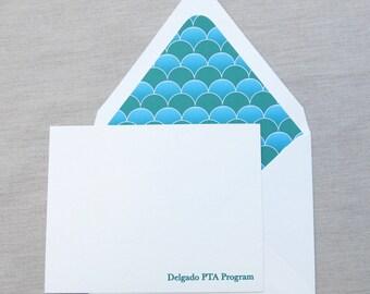 Delgado PTA Program Stationery - Flat Cards - Green Wave