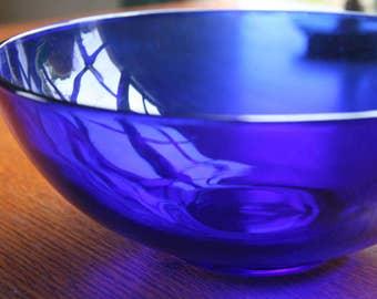 Vinatge Cobalt Blue Serving Bowl Medium Size