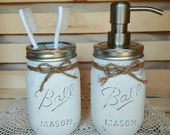 Rustic Bathroom Decor - Painted Mason Jars - 2 pc Mason Jar Sets - Shabby Chic - Country  - Soap/Lotion  Dispenser - Toothbrush holder