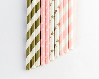 10 pink and gold birthday party straws. Party decorations. First birthday party. Birthday girl.