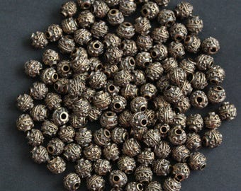 Metal Beads Spacers Greek Antique Brass-Coloured 9 mm Nickel-Free 10-Pack for Jewelry and Crafts