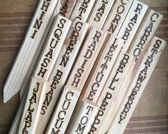 Custom 12'' Hand Burned Wooden Garden Markers Set of 10