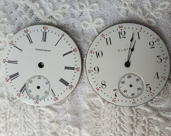 Pocket Watch Dials, Enamel Vintage Watch Parts, Round, Craft Project, Steampunk, Porcelain Pocket Watch Faces, Watch Parts