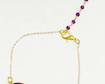 14k Gold Drop/Dangle Style Purple Chalcedony & Amethyst Bracelet
