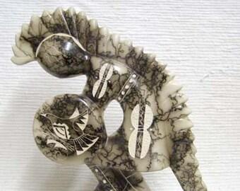 Native American Made Ceramic Horsehair Dancing Warrior