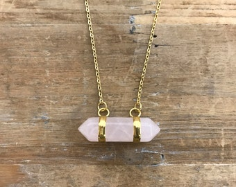 """Rose Quartz double pointer Pendant on matching 18"""" Gold Necklace Chain"""