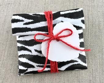 DIY Kit, Set of 10 Party Animal Zebra Print Favor Bags 4 x 6 with Tags/String, DIY Favor Kit, Zebra Print Paper Favor bags, White Heart Tags