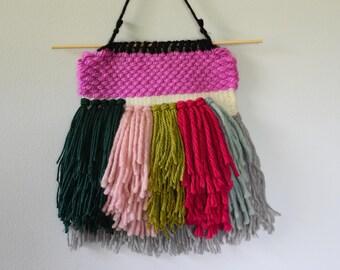 Woven Wall Hanging, Weaving, Modern Textile, Shaggy Weaving