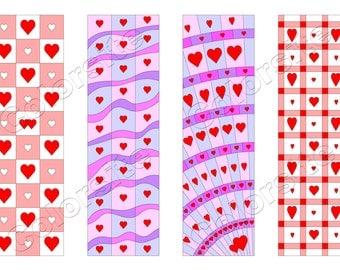 Printable Bookmarks, Download bookmark, Valentine Bookmarks download, Printable Heart bookmark, Ready to print bookmarks