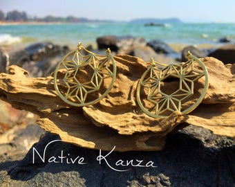 Sacred geometry Hoops. Large brass hoops.