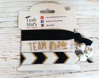 Arrow 'Team Bride' Bachelorette Hair Tie Set, Gold & Black Bridesmaid Hair Tie Set, Bridesmaid Gifts, Bachelorette Favours, Bachelorette