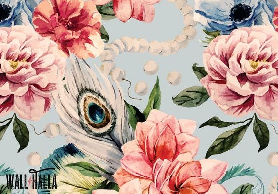 Watercolor Roses Wallpaper Removable Wallpaper Watercolor