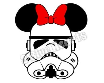 Stormtrooper with Bow Minnie Head SVG dxf pdf Studio